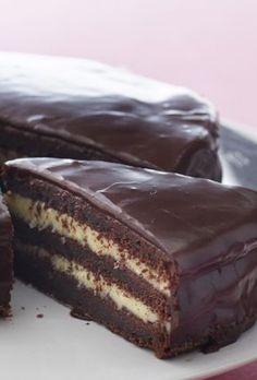 Chocolate cake with butter cream- Chokoladekage med smørcreme Use the chocolate cake for dessert, for the coffee, or … - Homemade Chocolate, Chocolate Cake, Baking Recipes, Cake Recipes, Cold Cake, Cheap Clean Eating, Danish Food, Savoury Cake, Cake Cookies