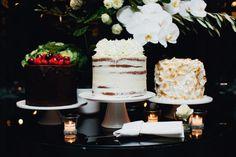 trio of wedding cakes by Fig + Salt