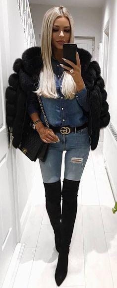 winter trends / black fur jacket + denim skirt + bag + rips + over knee boots