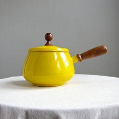 Yellow Enameled Fondue or Sauce Pot, Japan, 1960s via BarkingSandsVintage