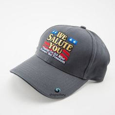 """""""We Salute You"""" Grey Military Cap Red White & Blue """"We Salute You"""" Grey Military Cap Red White & Blue. Accessories Hats"""