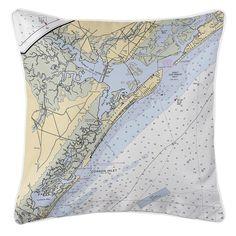 NJ: Ocean City, NJ Nautical Chart Pillow