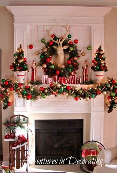I was *going* to keep our mantel simple this year ... maybe next year!