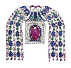 A FINE ART DECO DIAMOND AND GEM-SET BROOCH, BY CARTIER