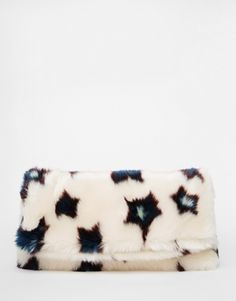ASOS Faux Fur Star Fold Over Clutch Bag Co-ord