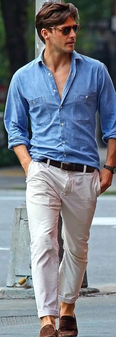 Sunglasses, watch and loafers, perfect combo! (Trousers should be always rolled up when sporting loafers/ moccasins/ driver with no socks).