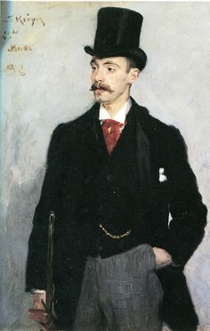 Portrait of Aage Hirschsprung (1869-1909), 1896 (or 1892?) by  Peder Severin Krøyer (Norwegian 1851-1909)... this dapper chap was a Danish publisher..... Portrait Art, Portraits, Portrait Paintings, Guy Drawing, Painting & Drawing, Danish Men, Lund, Paint Themes, Blue Stockings