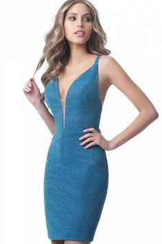 Jovani - Deep V-neck Glitter Fabric Sheath Dress Backless Homecoming Dresses, Prom Dresses Blue, Short Dresses, Plus Size Bodycon Dresses, Plus Size Cocktail Dresses, Plus Size Wedding Guest Dresses, Plus Size Party Dresses, V Neck Cocktail Dress, Glitter Fabric