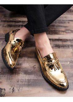 shoes - Golden buckle tassel leather slip on dress shoe Leather Slip On Shoes, Leather Loafers, Loafers Men, Best Sneakers, Slip On Sneakers, Men's Shoes, Dress Shoes, Shoes Men, Flat Shoes