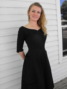 Vintage 50s Black Party Dress Full Skirt Re Go Fashion by soulrust, $99.99
