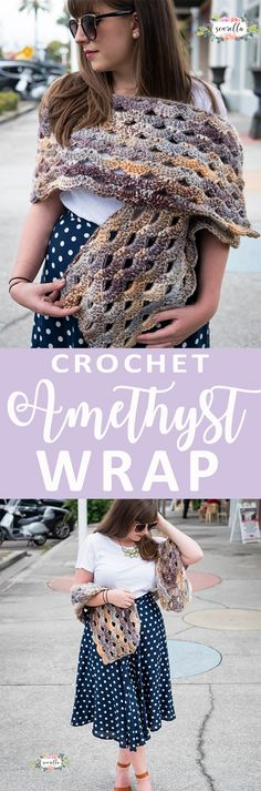 Crochet the easy Amethyst Wrap with a beautiful fan style stitch called the arcade stitch. Free pattern!