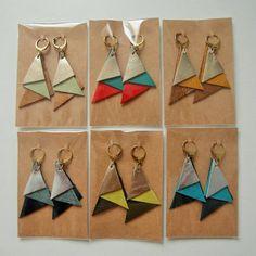 "Earrings ""Bondie"" leather - Jewelry Making Diy Leather Earrings, Diy Earrings, Leather Jewelry, Leather Craft, Origami Jewelry, Jewelry Crafts, Handmade Jewelry, Fabric Jewelry, Leather Accessories"