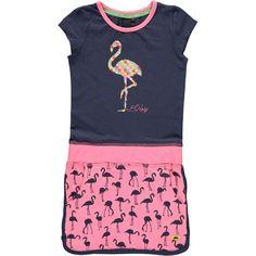 B.NOSY jurk flamingo candy/blue night Maat 152