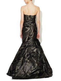 Silk Taffeta Moire Trumpet Gown by Monique Lhuillier at Gilt
