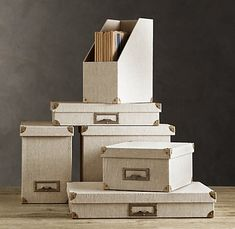 linen office storage accessories. Nice idea to have corner protectors and label