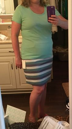 41Hawthorne Iris Striped A-line skirt, XL, $58. RETURNED Saw this color combination done by another pinner. Skirt looks great but is hard to zip and skews a little snug for my belly. July 2015 Stitch Fix #stitchfix