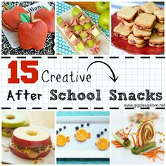 15 Creative After School Snacks. My energy and motivation to do this kind of stuff usually lasts about 2 weeks into the school year, before complete exhaustion sets in and I start counting down the days until summer holidays, but maybe I'll be able to try a couple of these this year!