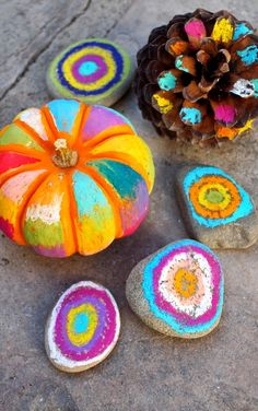 Halloween Art:  No Carve, Colorful Pumpkins, rocks, and pine cones!  All you need are 2 materials!