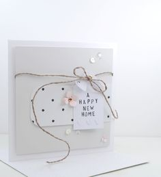 Dotty paper from the 'Molly Rose' Collection by The Lovely Studio. New Home Cards, New Home Gifts, Cute Cards, Diy Cards, Quick Cards, Happy New Home, Studio Cards, Marianne Design, Xmas Cards