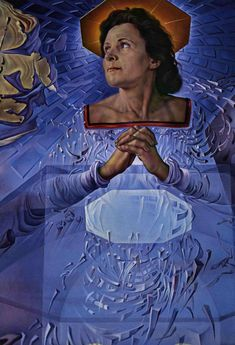 Gala (his wife) as Mary by Salvador Dali, 1952. This is a detail of Lapis Lazuli Corpuscular Assumption