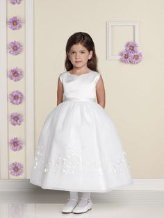 Tea-Length Ball Gown Appliques Gauze Satin First Communion Dresses (BSFCD-076)