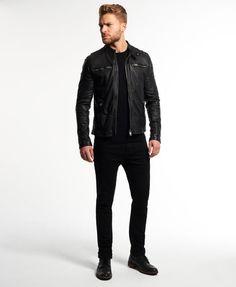 Superdry Real Hero Biker Leather Jacket
