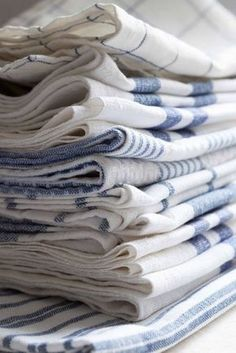 Vintage French Soul ~ There is NO such thing as too many dish towels, esp in blue/white!