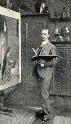 Edmund Blair Leighton in his studio - He is standing in front of his painting called The Foundling.