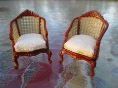 "Dollhouse Miniatures 1/2"" Half Inch Scale Pair of Bespaq Caned Chairs w/ Cushion | eBay"
