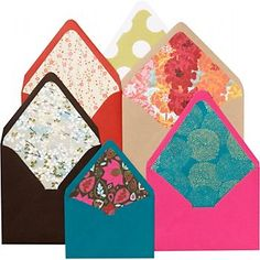 Envelope Liner Template Kit (Paper Source) Even the basic envelope has a desire to feel pretty! Create decorative envelope liners with virtually any kind of paper--elegant, colorful, wacky, or patterned, the possibilities are endless. Great for personal stationery, party invitations, and a must for wedding invitation envelopes!
