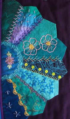 I ❤ crazy quilting & embroidery . 26 x 32 inches ~By marcie carrI ❤ crazy quilting & embroidery . 26 x 32 inches ~By marcie carr Ribbon Embroidery, Embroidery Stitches, Embroidery Patterns, Quilt Patterns, Block Patterns, Crazy Quilt Stitches, Crazy Quilt Blocks, Crazy Quilting, Patchwork Quilting