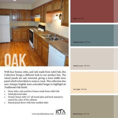 Kitchen Paint Colors with Honey Oak Cabinets Awesome Color Palette to Go with Oak Kitchen Cabinet Line for Those with Gallery Kitchen Colour Schemes, Kitchen Paint Colors, Room Paint Colors, Paint Colors For Living Room, Warm Kitchen Colors, Neutral Kitchen, Red Kitchen, Rustic Kitchen, Honey Oak Cabinets