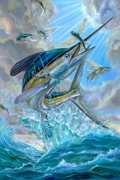 White Marlin Painting - Jumping White Marlin And Flying Fish by Terry Fox