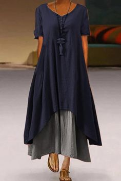 Solid Casual VNeck Maxi Dress – luzzar The clothing culture is fairly old. Fashion Mode, Boho Fashion, Maxi Dress With Sleeves, Short Sleeve Dresses, Short Sleeves, Mode Hippie, Casual Dresses For Women, Casual Outfits, Men Casual