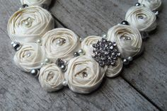 Bridal Ivory Rosette Rhinestone and Pearls by MissBettyLou on Etsy, $68.00