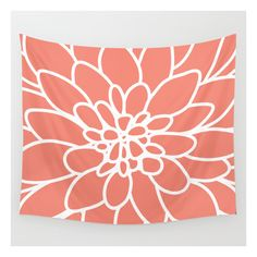 Coral Modern Dahlia Flower Wall Tapestry (52 CAD) ❤ liked on Polyvore featuring home, home decor, wall art, wall tapestries, coral wall art, tapestry wall art, coral home accessories, outdoor wall art and coral home decor