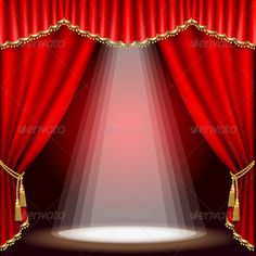 Illustration of Black and gold background with abstract plant vector art, clipart and stock vectors. Stage Curtains, Red Curtains, Theatre Stage, Theater, Cabaret, Concert Stage Design, Iphone Background Images, Red Background, Photo Frame Design