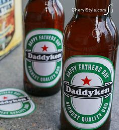 Use a free beer label printable to impress Dad on Father's Day! A shipping label sheet, scissors and a six-pack look just like real Heineken's labels.