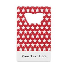 Red White Stars Nautical Pattern Personalized Credit Card Bottle Opener more nautical themed gifts at www.mouseandmarker.com.  Great personalized credit card sized bottle openers with custom name or text.  A great fish extender gift idea for your next disney cruise line vacation.