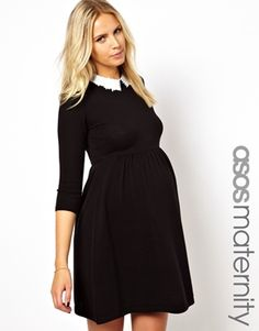 ASOS Maternity Knitted Dress With Lace Collar. Color black. Us size 8.