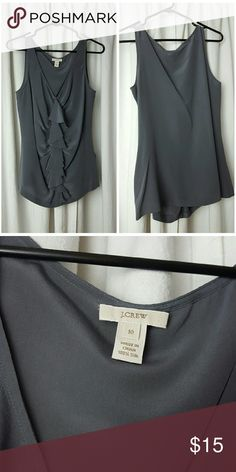 J. Crew silk sleeveless blouse sz 10 J. Crew grey silk sleeveless blouse sz 10, with side zip and ruffle. In perfect condition! J. Crew Tops Blouses