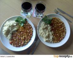 Guláš ze sójových bobů Mekka, Chana Masala, Grains, Bob, Rice, Ethnic Recipes, Red Peppers, Bob Cuts, Seeds