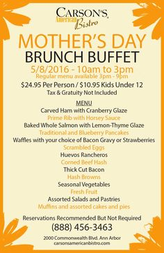 Mother's Day Brunch Menu Mother's Day Brunch Buffet, Mother's Day Buffet, Blueberry Pancakes, Pancakes And Waffles, Mothers Day Brunch, Baking, American, Blue Berry Pancakes, Patisserie