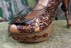 Steampunk heels. Fantastic!