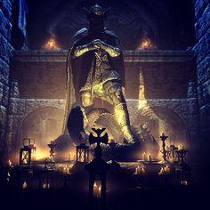 Amazing Skyrim art of shrine to Talos Elder Scrolls Oblivion, Elder Scrolls Games, Elder Scrolls Skyrim, Fantasy Paintings, Fantasy Art, Arrow To The Knee, Skyrim Funny, Skyrim Mods, Fantasy Landscape