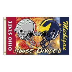 NCAA Michigan - Ohio State Foot Flag Clashing Helmets with Grommets - Rivalry House Divided, Ohio State/Michigan Ohio State Vs Michigan, Ohio State University, Michigan Wolverines, Buckeyes Football, Ohio State Buckeyes, College Football, Ohio State Helmet, House Divided Flags, House Flags