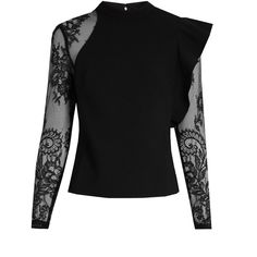 Self-portrait Ophelia ruffled lace-sleeved blouse ($375) ❤ liked on Polyvore featuring tops, blouses, black, floral blouse, see through tops, one shoulder blouse, see through blouse and sheer blouse