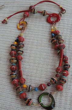 Paper Beads (with a Special Story), Tagua Nuts and Brass All Together in a Fantastic Necklace!