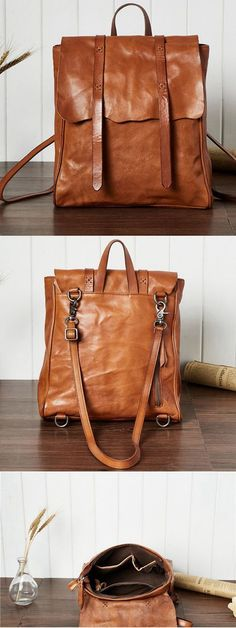 f151a348d6 Handmade Leather Backpack Girl Women s Full Grain Leather Shoulder Bag  Leather Bags Handmade
