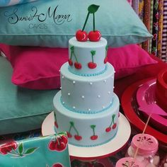 Red Cherries  Pale Blue Tiered Cake